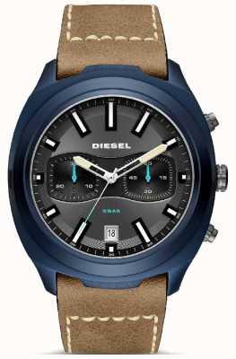 Diesel メンズタンブラーブルーケースブラウンレザーストラップ DZ4490