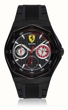 Scuderia Ferrari メンズアスパイアブラックラバーストラップブラックケースデイト表示 0830538