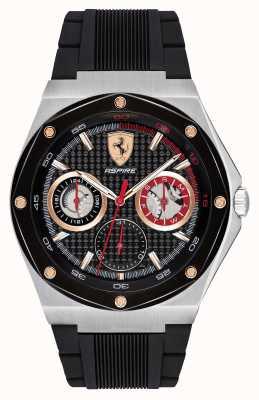 Scuderia Ferrari メンズはブラックラバーストラップゴールドアクセント日付表示を熱望 0830556