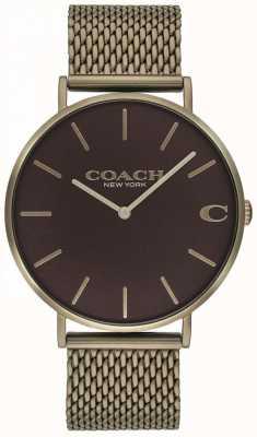 Coach メンズチャールズブロンズメッシュブレスレットウォッチ 14602147
