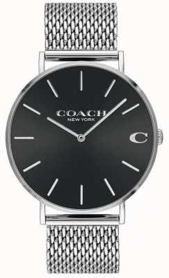 Coach メンズチャールズシルバーメッシュブレスレットブラックダイヤルウォッチ 14602144