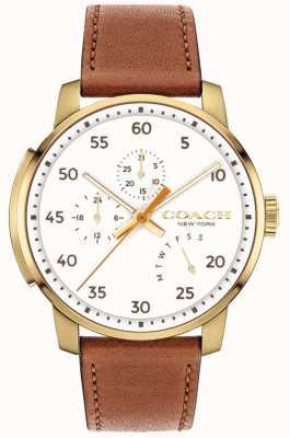 Coach メンズブリーカー腕時計マルチ機能ホワイトダイヤル 14602340