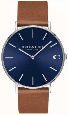 Coach チャールズメンズブラウンレザーストラップブルーダイヤル 14602151