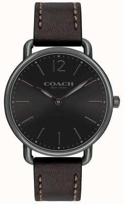 Coach メンズデラランススリムウォッチブラックダイヤルブラックレザーストラップ 14602346