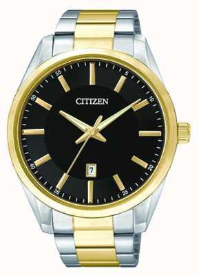 Citizen メンズクォーツブラックダイヤル| 2トーンステンレススチールストラップ| BI1034-52E