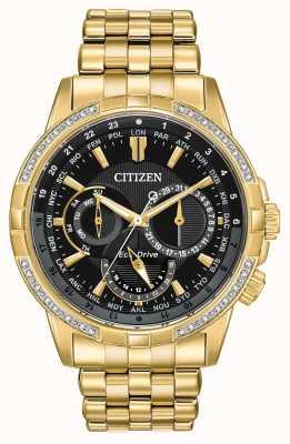 Citizen メンズカレンダーエコドライブゴールドメッキ32個のダイヤモンド BU2082-56E