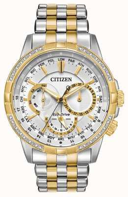 Citizen メンズカレンダーエコドライブ2トーン32ダイヤモンドシルバーダイヤル BU2084-51A