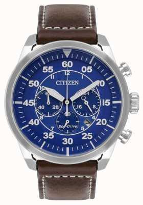 Citizen Mens avionエコドライブブルーダイヤルブラウンレザーストラップwr100 CA4210-41L