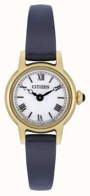 Citizen レディースエコドライブブルーレザーストラップゴールドメッキホワイトダイヤル EG2995-01A