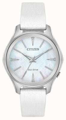 Citizen レディースエコドライブシルバーダイヤルホワイトレザーストラップ EM0590-03D