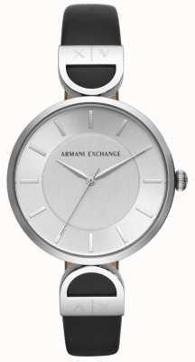 Armani Exchange ブルックレディースブラックレザーストラップシルバーダイヤル AX5323
