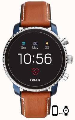 Fossil 接続されたq探検家hrスマートな腕時計茶色の革のストラップ FTW4016