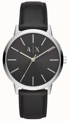 Armani Exchange Caydeメンズブラックレザーストラップブラックダイヤル AX2703