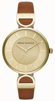 Armani Exchange ブルックレディースブラウンレザーストラップ AX5324