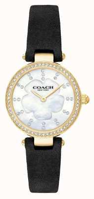 Coach 女性のモダンな高級ブラックレザーストラップの母真珠 14503103