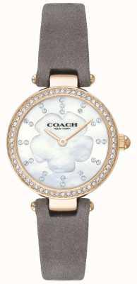 Coach レディースモダンな高級グレーレザーストラップの母真珠 14503104