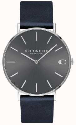 Coach メンズチャールズネイビーストラップグレーダイヤルウォッチ 14602150