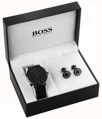 Hugo Boss メンズブラックイオンメッキウォッチ&カフスセット 1570067