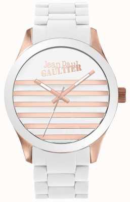Jean Paul Gaultier エンファンツはユニセックスの白とローズゴールドラバーウォッチ JP8501126