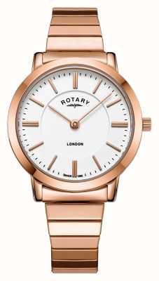 Rotary レディースロンドンロンゴールドスチール拡大ブレスレット時計 LB00767/02