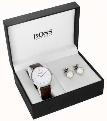 Hugo Boss メンズブラウンレザーホワイトダイヤルカフスボタンセット 1570069