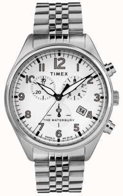 Timex メンズウォーターベリー伝統的なホワイトクロノスチールのブレスレット TW2R88500