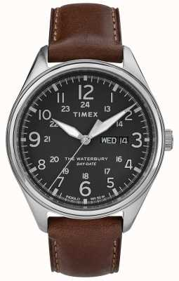 Timex メンズウォーターベリートラディショナルデイデイトブラックブラウン TW2R89000
