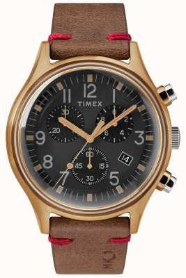 Timex メンズmk1 sstクロノ42mmブロンズケースブラックダイヤルブラウンストラップ TW2R96300