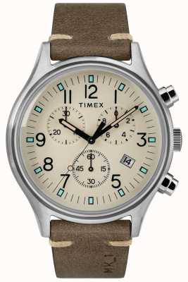 Timex メンズmk1 sst chrono 42mmケースブラウンレザーストラップ TW2R96400
