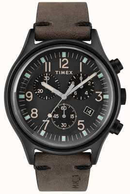 Timex メンズmk1 sstクロノ42mmブラックケースブラックダイヤル TW2R96500
