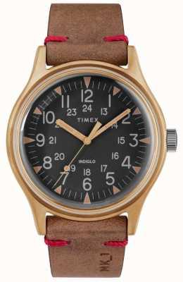Timex メンズmk1 sstクロノ40mmブロンズケースブラックダイヤルブラウンストラップ TW2R96700