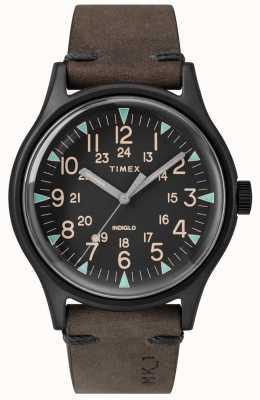 Timex メンズmk1 sst chrono 42mmブラックケースブラックダイヤルブラウンストラップ TW2R96900