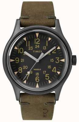 Timex メンズmk1 sstクロノ40mmブラックケースブラックダイヤルオリーブストラップ TW2R97000
