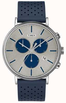 Timex メンズフェアフィールドクロノスーパーノヴァブルーストラップシルバーダイヤル TW2R97700