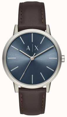 Armani Exchange ブルーダイヤルレザーストラップブラウンメンズ腕時計 AX2704