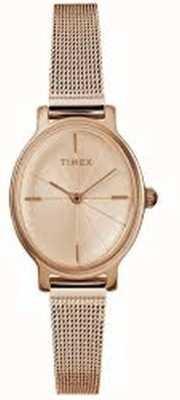 Timex レディースミラノオーバルローズゴールドメッシュウォッチ TW2R94300D7PF