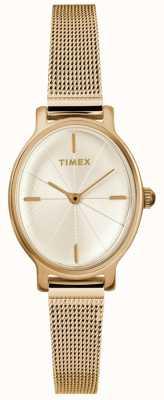 Timex レディースミラノオーバルゴールドメッシュウォッチ TW2R94400D7PF