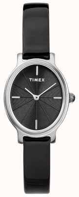 Timex レディースミラノオーバルシルバーメッシュ腕時計ブラックダイヤル TW2R94500D7PF