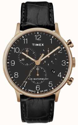 Timex メンズウォーターベリークラシックローズゴールド腕時計ブラックストラップ TW2R72000D7PF
