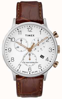 Timex メンズウォーターベリークラシッククロノグラフウォッチホワイトダイヤル TW2R72100D7PF