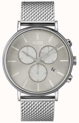 Timex フェアフィールドスーパーノヴァクロノグラフシルバーメッシュウォッチ TW2R97900D7PF