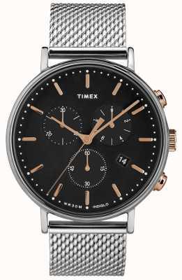 Timex フェアフィールドクロノグラフシルバーメッシュ腕時計ブラックダイヤル TW2T11400D7PF