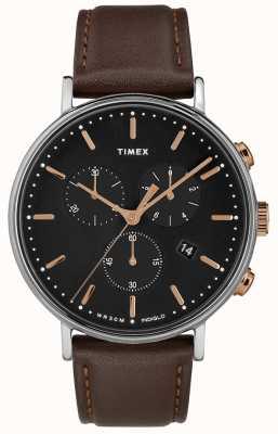Timex フェアフィールドクロノグラフブラウンストラップブラックダイヤル TW2T11500D7PF