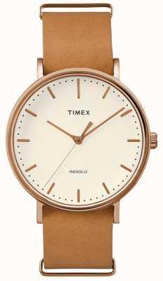Timex フェアフィールドブラウンストラップ3ハンドウォッチ TWF3C8160UK