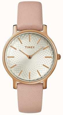 Timex レディースメトロポリタンレザーストラップウォッチシルバーローズゴールド TW2R85200D7PF