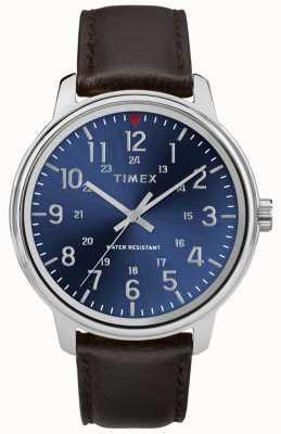 Timex 男性用メトロポリタンブラウンレザーウォッチブルーダイヤル TW2R85400