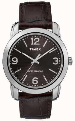 Timex メンズブラウンレザークロコダイルストラップブラックダイヤル TW2R86700