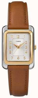 Timex レディースブラウンレザーストラップシルバートーンダイヤル TW2R89600D7PF