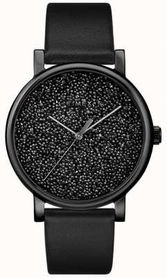 Timex スワロフスキークリスタルのレディースブラックレザーウォッチ TW2R95100D7PF
