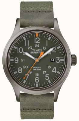 Timex 遠征のスカウトは緑色の生地ストラップを見る TW4B14000D7PF